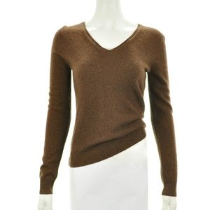 APT 9. BROWN CASHMERE V-NECK SWEATER SIZE SMALL